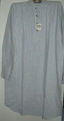 Irish Nightshirt Lee Valley Flannel Mens  Blue/Ivory Stripe Free Shipping