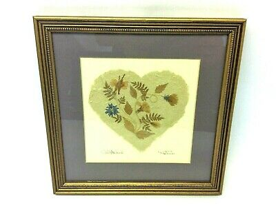 "1991 Signed ""Wild Flowers"" Gold Colored Frame Wall Hanging Heart Pressed Art"