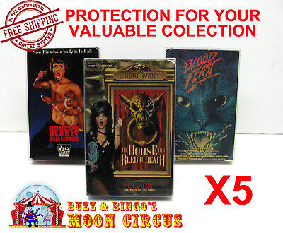 5x VHS MOVIE CARDBOARD BIG BOX - CLEAR PLASTIC PROTECTIVE BOX PROTECTORS SLEEVE