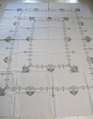 TABLECLOTH Hand embroidered LINEN Cross stitch Large Rectangle Vintage
