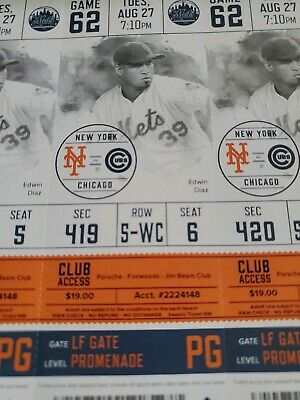 August 8/27 NEW YORK METS Cubs Unused TICKET STUB PETE ALONSO RECORD HR Baez STH