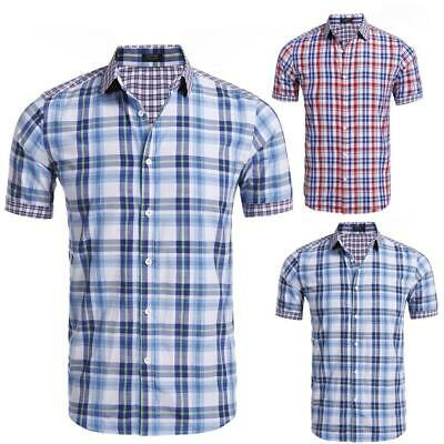Uomo corta manica camicia Button Down, collo Plaid Casual OO55 01