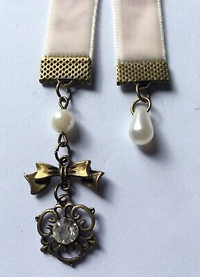 Gorgeous Faux Pearl, Heart & Pale Pink Velvet Bookmark, Handmade in Aus, Book