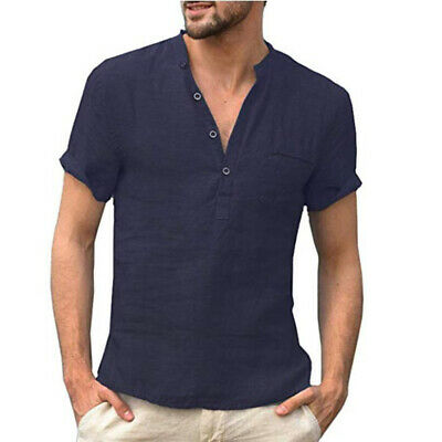 Mens Tops Male Shirts Summer Plus Size T-Shirts Tops Stand Collar Shirts V Neck