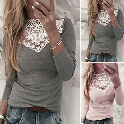 SALE Women Sexy Stretch Party Top Ladies Lace Hollow Jumper Pullover Blouse S-XL