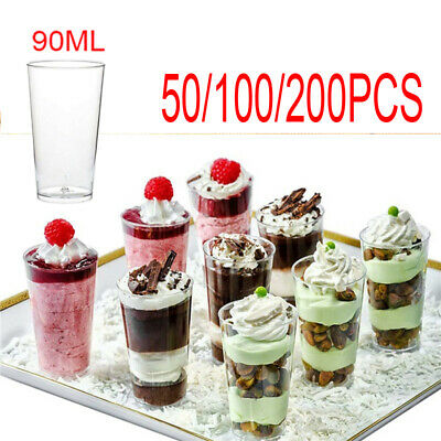 50/200 Mini Plastic 3oz Dessert Drink Shooters Jelly Cups Shot Glass Party Hot