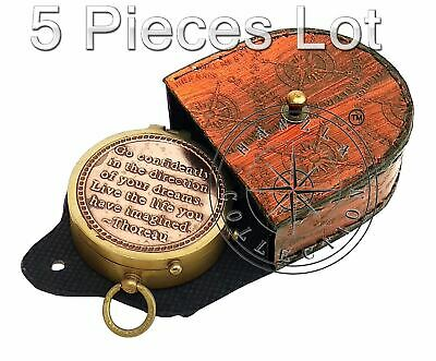 5 Pieces Engraved Brass Compass Maritime Antique Pocket Gift With Leather Case