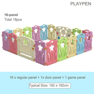 Cuddly Baby Plastic Playpen Toddler Gate Safety Room Fence Divider 18 Panel
