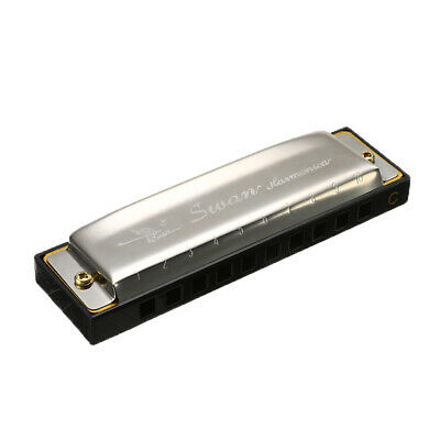 Swan Harmonica 10 Holes C Key Blues Harp Mouth Organ Stainless Steel with Case