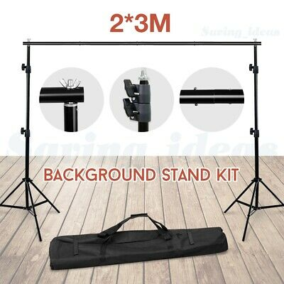 2x3m Photo Studio Backdrop Stand Adjustable Heavy Duty Background Support +BAG