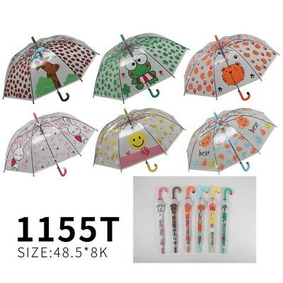 UMBRELLA Children Kids PVC Clear Dome Design Brolly Colourful Girl & Boy Lovely