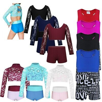 Girls Dance Sports Outfit Crop Top+Shorts Two Pieces Ballet Gym Leotard Fitness