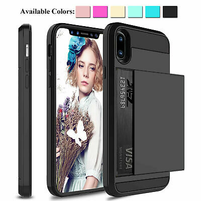 For i Phone X XS Max XR 8 7 6S Plus MC Wallet Card Holder Case  Shockproof Cover