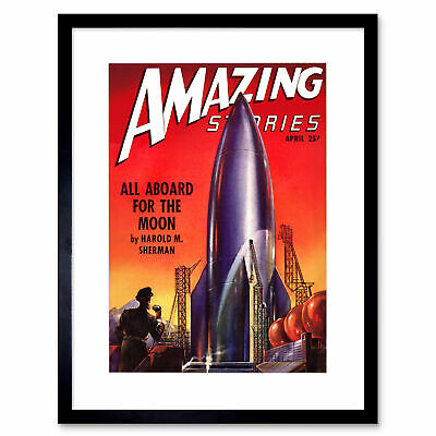 Comics Amazing Stories Rocket Ship Moon Space Sci Fi Usa 12X16 Inch Framed Print
