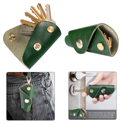 Portable Leather Key Wallet Holder Organizer Car Keyring Chain Pouch Case Green
