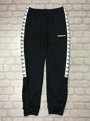Adidas Originals Mens Uk M Black Tape Poly Joggers Track Pants J