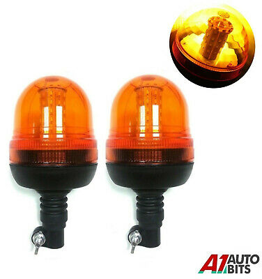 Set Led Beacon Warning Flashing Rotating Amber Flexible Din Pole Tractor Lights