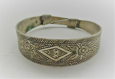 Beautiful Antique Chinese Decorated Silver Bracelet