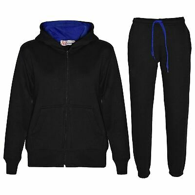 Kids Boys Girls Tracksuit Fleece Black & Royal Hooded Hoodie Bottom Jogging Suit