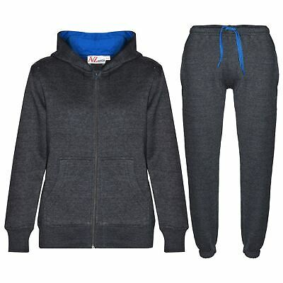 Kids Boys Girls Tracksuit Fleece Charcoal & Blue Hoodie & Bottom Jogging Suits