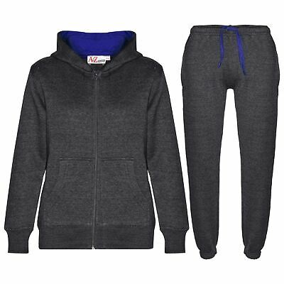 Kids Boys Girls Tracksuit Fleece Charcoal & Royal Hoodie & Bottom Jogging Suits