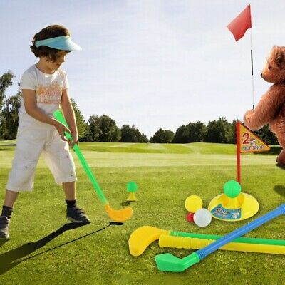 Plastic Kids Golf Toy Set Golf Clubs Practice Holes Golf Tees Flag Exercise Toy