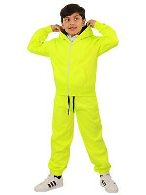 Kids Boys Girls Tracksuit Fleece Neon Green Hoodie & Bottom Jogging Suits 5-13 Y