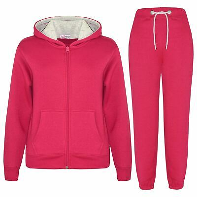 Kids Boys Girls Tracksuit Fleece Pink & Grey Hoodie & Bottom Jogging Suits 5-13Y