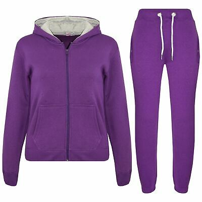 Kids Boys Girls Tracksuit Fleece Purple Hooded Hoodie & Bottom Jogging Suit 5-13