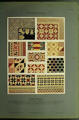 100+ year old antique vintage color print ancient Greek Ornament Marble Mosiacs