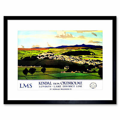 Travel Kendal Cumbria England UK Lake District Valley Framed Art Print 12x16""