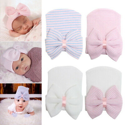 Baby Girls Boys Infant Striped Soft Hat with Bow Hospital Newborn Beanie Diomand