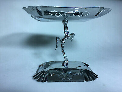 Rare Vintage Antique Chrome Nude Lady Cake Stand ? Art Deco Kitchen Display ?