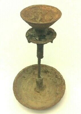 Antique Old Candlestick Cast Iron Metal Early Primitive Candle Holder Forged