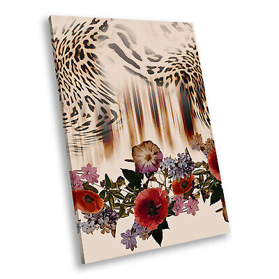Red Rose Leopard  Abstract Portrait Canvas Picture Modern Wall Art Print