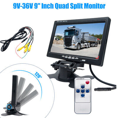 9 Inch Split Screen Monitor Dual Backup Camera 190cm Cables For Bus RV Trailer