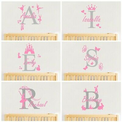 Personalised Name Wall Art Sticker Letter Baby Girls Bedroom Decal Nursery