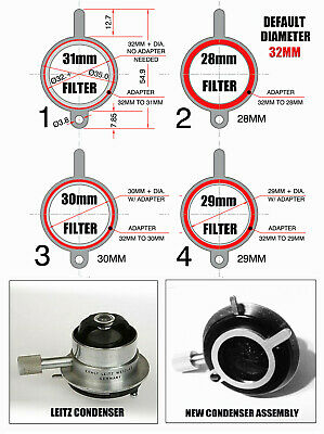 Leitz Microscope Retrofit to Receive 28mm, 29mm, 30mm, 31mm, 32mm Filters
