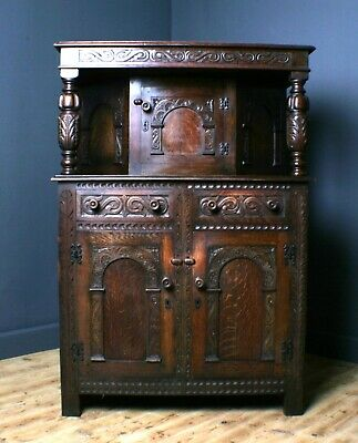 Attractive Large Vintage Heavily Carved Oak Court Cupboard Sideboard Cabinet