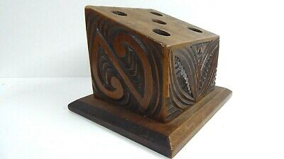 Hand Carved Kauri Heart Peter Coatsworth Pen Stand Maori Carved Desk Set