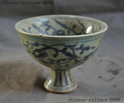 Antiques China dynasty Blue&white Old porcelain hand carved goblet wineglass cup