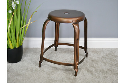 Pair Of 2 Industrial Antique Copper Metal Round Foot Stool (Dx6313)