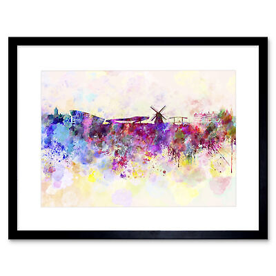 Travel Painting Cityscape Amsterdam Netherlands Framed Print 12x16 Inch