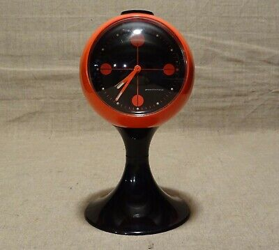 Réveil vintage 70's 80's orange et noir Perspective France Space Age  fonctionne