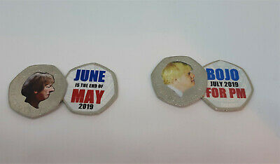 Unofficial Boris Johnson and Theresa May 50p coin - colour decal sticker Brexit