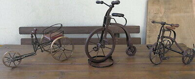 Collection 3 Mini Tricycle Toy Wood Metal Antique German Handcrafted, Original