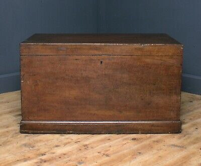 Attractive Large Antique Victorian Pine Kist Chest Storage Trunk Blanket Toy Box