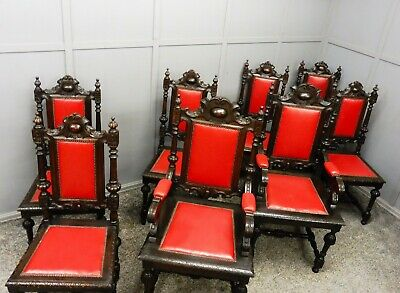 A Set Of 8 Antique Oak Dining Chairs Circa 1890