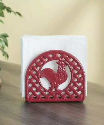 Home Basics Cast Iron Fleur De Lis Napkin Holder Red HDS Trading Corp NH44393