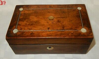 Vintage Small Inlaid with MOP dots Rosewood Trinket Jewellery Box  D17
